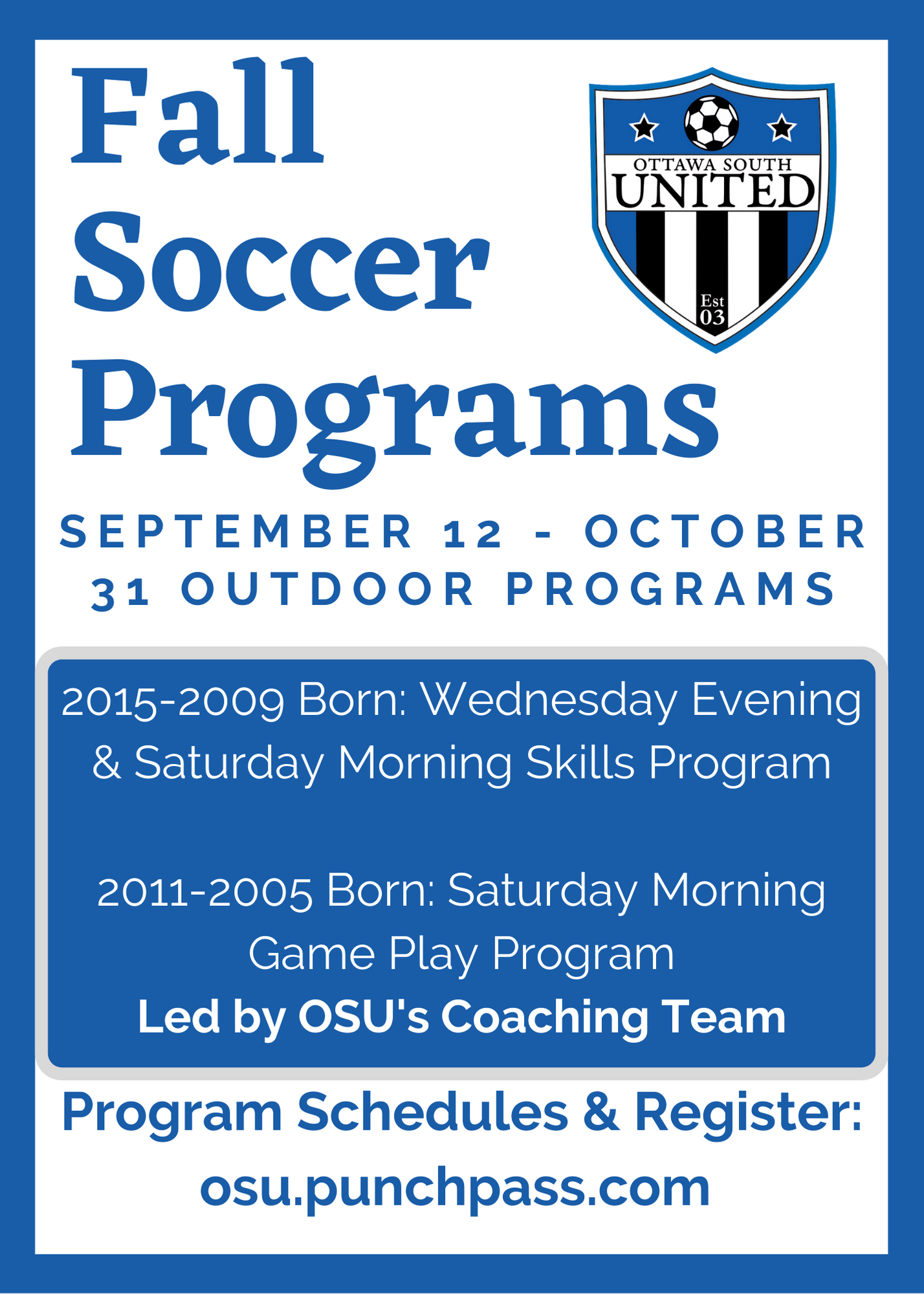 Fall Recreational Programs Now Available!